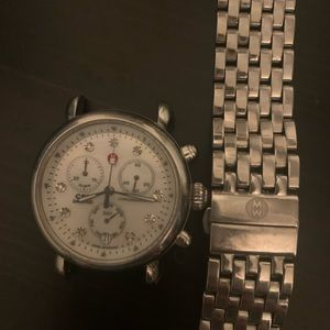 Michele watch silver with diamonds